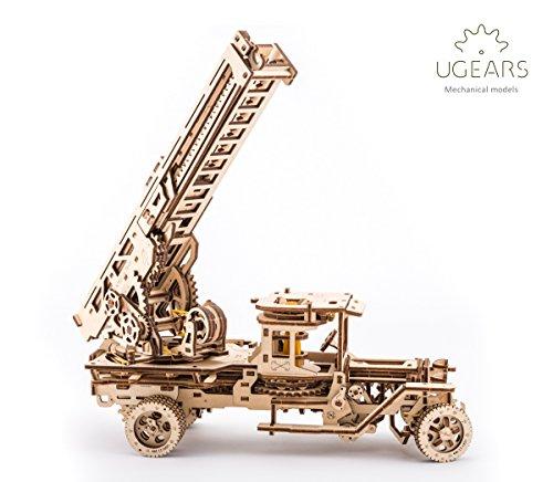 UGEARS Camión de Bomberos Mecánico 3D Rompecabezas de Madera Kit de Construcción Sin Pegamento...