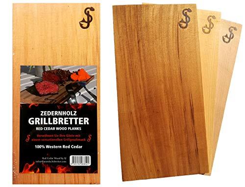 Räucherbretter im 3er Set aus reinem Zedernholz von 'SJ' - Grill-Bretter zum Grillen aus Red Cedar - 100% natürliche Aroma Holz Planken, Räucherplanke/Grillplanken zum...