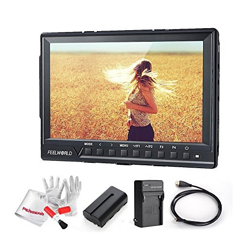 Feelworld FW760 7 Inch IPS Full HD 1920x1200 On Camera Field Monitor 4K HDMI Output with 2200mAh Battery Kit - 1200:1 Contrast 450cd/m2 Brightness Peaking Focus Assist Histogram Zebra Exposure