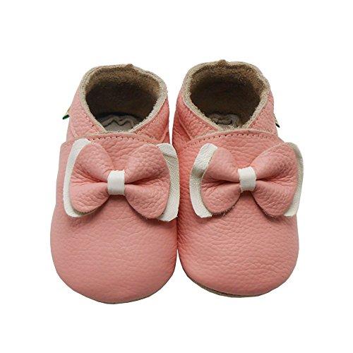 Sayoyo bow chaussures de bébé en cuir souple chaussures semelle douce (12-18 mois, Rose) Rose