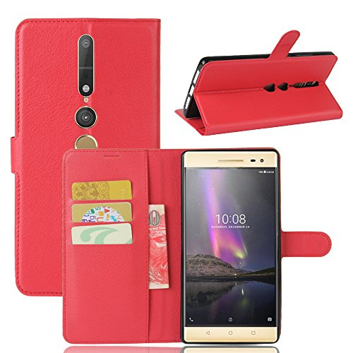 COVO® PU+TPU Kunstleder Brieftasche Hülle für Lenovo Phab 2 Pro mit Stand Funktion (Rot)