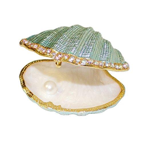 MICG - Schmuckschatulle in Form einer Muschel mit Perle im Inneren, Vintage-Stil, aus Metall, mit Scharnier, Halter für Eheringe White Inside Big Muschel
