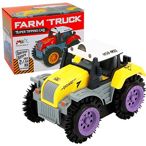 (Amazon STY Early Education 2 6 Jahre alt Baby Spielzeugauto, elektrische Stunt Auto und Flip Spielzeugauto Kinder & Kinder Jungen und Mädchen, Geschenke gift (Gelb))