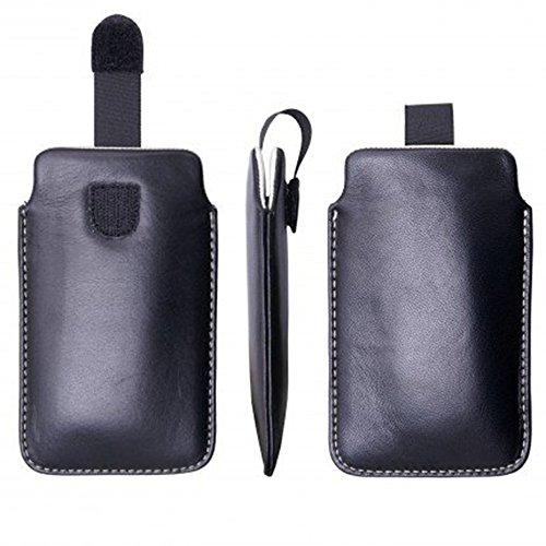 Premium ECHTLEDER handmade leather collection II Tasche für BlackBerry Torch 9850 / 9860 / Google Nexus One / HTC 7 Mozart / HTC 7 Pro / HTC 7 Trophy / HTC Desire V / HTC Desire X / HTC Radar / Rhyme / Huawei Ascend Y210D / Nokia 6800 / 6810 / E63 / E70 / Nokia Lumia 505 7 Nokia Lumia 520 / 525 / 610 / 710 / N93 / N97 / X2-01 / X7 / Samsung Galaxy Ace / Ace 2 / Fame / Fresh / Chat / S Duos S7562 / Trend S7560 / Trend 2 / Trend Plus S7580 / S3 Mini i8910 / S Plus I9000 / Sony Xperia E / E1 , Hülle, Schutzhülle, Schale, Handytasche, Handyhülle, Leder, Aus echtem Leder (Tasche Schwarz - Innen Creme)