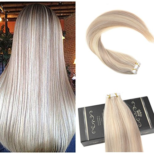 Ugeat 18 zoll/45cm Tape on Extensions Echthaar Ash Blonde Mixed with Bleach Blonde Highlighted Color Tape in Haar 50g