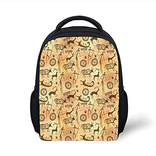 Kids School Backpack Primitive,Dated Irregular Caveman Paint Forms Bird Cow Shape Early Modern Humans,Tan Brown Plain Bookbag Travel Daypack -