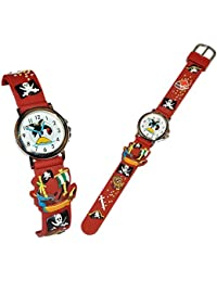 3-D Kinderuhr Pirat - Uhr für Kinder - Armbanduhr Silikon Piraten Schatztruhe Analog Schiff Seefahrer Jungen