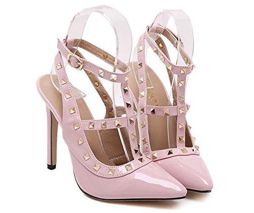 GS~LY Misure scarpe donna rivetti scarpe a spillo appuntito Black