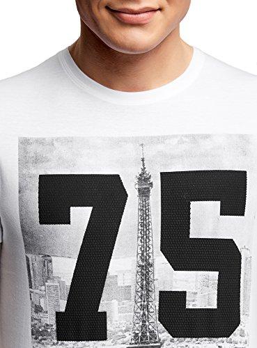oodji Ultra Herren T-Shirt mit Urban-Druck und Applikation Weiß (1029P)