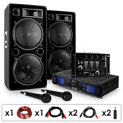 DJ-20.1 - Set de audio PA amplificador - altavoces - mesa mezclas - 2x micrófono (2x altavoz 3 vías, 12