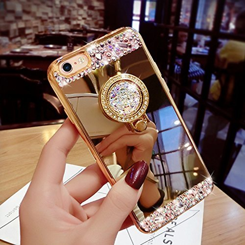 iPhone 7Coque, i7Coque, iPhone 7doux TPU Coque, iPhone 7clair TPU Coque, CE iPhone 7g Cristal Clair Bling Sparkle Fée Ange Fille étoiles Ultra fin Cadre Flexible en silicone souple en TPU Bumper  A5 Mirror TPU Ring 2