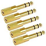 Poppstar 5x Audio Adapter Kupplung (Klinke 3,5 mm Buchse auf 6,3 mm Stecker), Klinkenkupplung für Klinkenkabel - Stereo Aux Kabel Koppeln, vergoldet