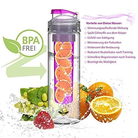 Lunata® water bottle with fruit infuser, sports bottle for fruit drinks, canteen with fruit insert 800 ml, made of Tritan, BPA-free