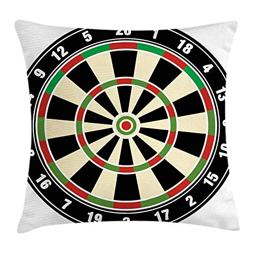 WITHY Sports Throw Pillow Cushion Cover, Dart Board Numbers Sports Accuracy Precision Target Leisure Time Graphic, Decorative Square Accent Pillow Case, 18 X 18 inches, Vermilion Green Black (Cover Board Dart)