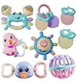 Prime Deals Colourful Silicon Non Toxic BPA-Free Rattles and Teether for Babies Set of 10 Attractive Rattle for New Born…
