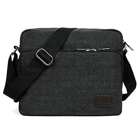 LOSMILE Umhängetasche Tasche Kuriertasche Umhängetasche Messenger Bag, Unisex Casual Vintage Stoff Rucksack. (schwarz)
