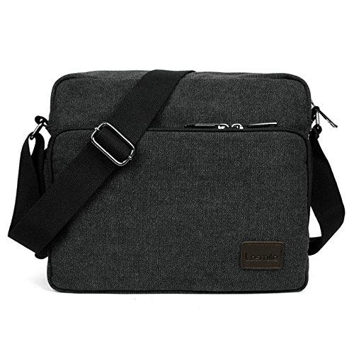 LOSMILE Umhängetasche Tasche Kuriertasche Umhängetasche Messenger Bag, Unisex Casual Vintage Stoff Rucksack. (schwarz) (Messenger Casual Aktentasche)