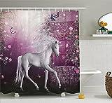Violetpos Duschvorhänge Einhorn in der Rose Garden Schmetterlinge Duschvorhang Badezimmer Dekorative 180 x 200 cm