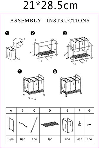 DXP Wäschesortierer Wäschekorb Wäschebox 3 Fächer Wäschewagen Wäschesammler Schwarz LWY01S -