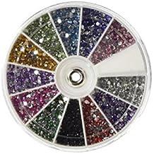 Sannysis 2400 pcs caja de acrílico del diamante 1.5-3 mm Decoración de uñas, 12 colors