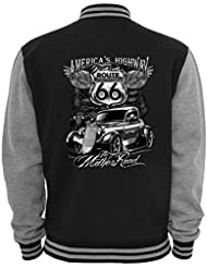 Ethno Designs - The Mother Road - Hot Rod Veste College Old School Rockabilly Retro Style pour Femmes et Hommes, navy / sports grey, taile XL