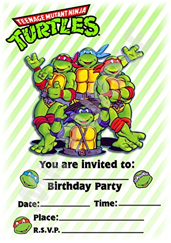 Superhero Teenage Mutant Ninja Turtles Geburtstag Party lädt - Hochformat gestreift Design - Party Deko/Zubehör (12 Stück EINLADUNGEN) WITHOUT Envelopes (Tmnt Geburtstag Einladungen)