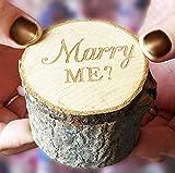 Losuya Marry ME Caja de madera para anillos de boda, caja de madera con estampado vintage, estilo shabby chic, para boda, compromiso, fiesta, decoración