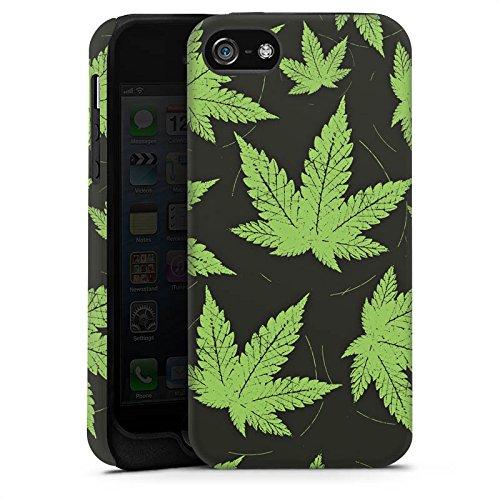 Apple iPhone X Silikon Hülle Case Schutzhülle Hanfblatt Weed Gras Grün Tough Case matt