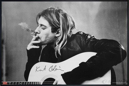 Close Up Nirvana Poster Kurt Cobain Smoking & Guitar (62x93 cm) gerahmt in: Rahmen schwarz