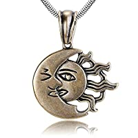 AMDXD Jewelry Stainless Steel Pendant Necklaces for Men Sun Moon Face Gold 4.5X4.2CM