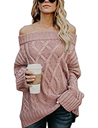ea3ec17ccd131a Dearlove Schulterfrei Strickpullover Sexy Oversize Pullover Damen  Fledermaus Ärmel Grobstrick Sweater für…