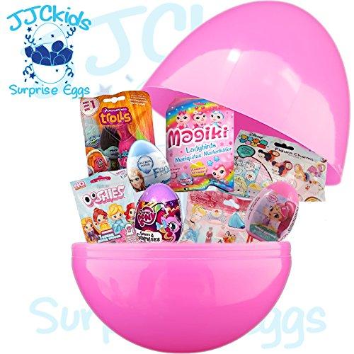 JJCkids Mädchen Geburtstagsgeschenk, 35,6 cm, Riesen-Überraschungsei, gefüllt mit Spielzeug und personalisiertem Namen