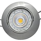 6 Stück | MCOB LED Decken Einbaustrahler Linus | Edelstahl geb. | 230Volt | 7Watt Dimmbar | Lichtfarbe Neutralweiß