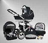 True Love Larmax Kinderwagen Safety-Sommer-Set (Sonnenschirm, Autositz & ISOFIX Basis, Regenschutz, Moskitonetz, Schwenkräder) 14 Comsic Black & White Dots