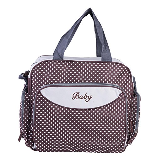Happy Cherry Langlebig Baby Windeltasche Wickeltasche Mama Umhängetasche Handtasche - Braun Gepunktet (Tasche Tote Nylon-zwei)