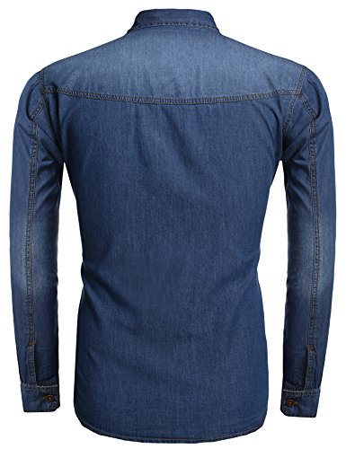 Burlady Jeanshemden Herren Langarm Denim Hemden Freizeit Shirts Regular Fit Hemden A-Hellblau
