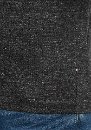 PRODUKT Primus Herren Strickpullover Feinstrick Pulli Longsleeve mit Rundhals-Ausschnitt aus hochwertiger Baumwollmischung Meliert Black