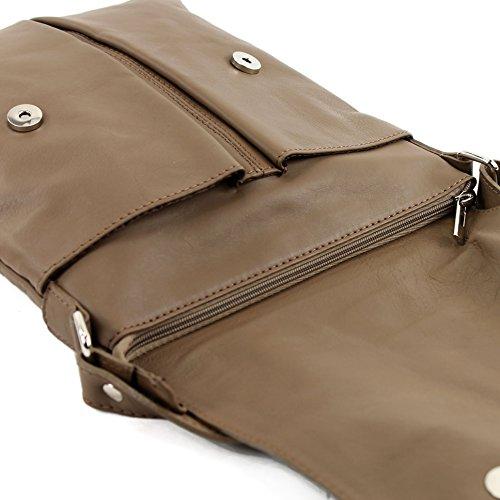 modamoda de ital. Borsa a tracolla Messenger signore borsa grande in pelle T75 Dunkelbeige