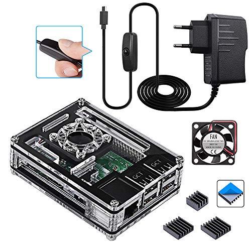 Für Raspberry Pi 3 b+ Gehäuse mit 5V 3A Netzteil mit EIN/AUS Schalter + Lüfter + 3X Aluminium Kühlkörper kompatible with Raspberry Pi 3 2 Model b+ Case (Pi Board Nicht enthalten)