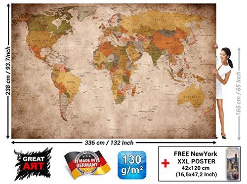 GREAT ART Fototapete - Weltkarte - Wandbild Used Look Dekoration Old School Vintage World-Map Globus Kontinente Atlas Retro - Weltkugel Geografie Wandtapete (336 x 238 cm) (Professionelle Globus)