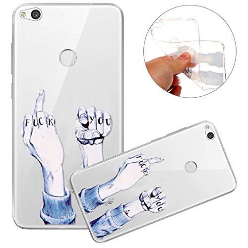 Surakey Huawei P8 Lite 2017 Cover, Silicone Morbido Trasparente Stampa Colorata Custodia AntiGraffio TPU Bumper Protettiva Skin Ultra Sottile e Leggero Cover per Huawei P8 Lite 2017,Fuck You