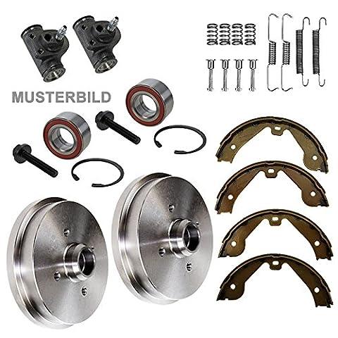 2x Bremstrommel + Bremsbacken + Zubehör + 2x Radbremszylinder + 2x Radlager hinten,
