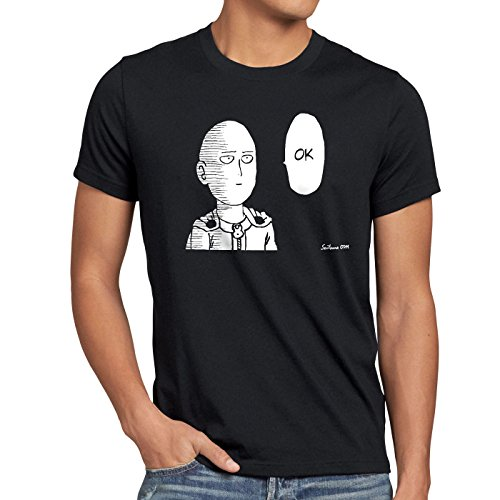 CottonCloud Saitama OK Manga Herren T-Shirt One Punch OPM, Größe:XXL;Farbe:Schwarz -