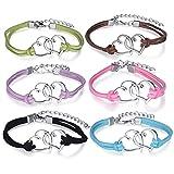Yumilok Doppel Herzen Charm-Armband Freundschaft Armbänder Handgemacht Geflochten Leder Legierung Verstellbar Armkettchen für Damen Mädchen, 6 Stücke