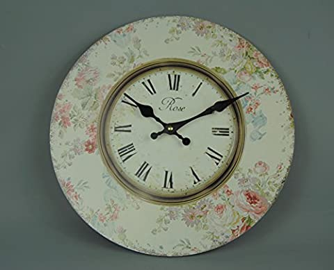 Vintage Style Cream and Gold Chintz Rose Wall clock with Pink Roses and Red Highlights