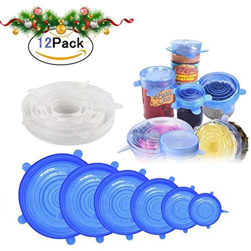 Leuox coperchi in silicone stretch, 12 pezzi di diverse dimensioni coperchio in silicone per alimenti, riutilizzabile duraturo per alimenti coperchio per conservazione-trasparente e blu