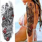 Handaxian 3pcsRose Tatuaje Robot mecánico Tatuaje Cara Femenina Tatuaje Pegatinas Impermeable 3p [CS-7