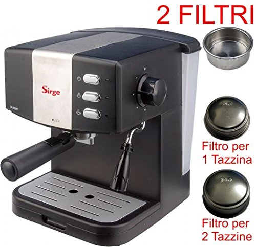 Sirge Maschine für Kaffee Espresso für 1oder 2Tassen [2Filter enthalten] und Cappuccino Kaffee in Staub 15bar Druck–Kessel 850Watt