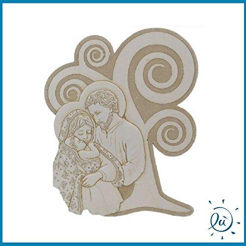 Sacra famiglia in marmo resina bassorilievo misura 12x15cm | bomboniere matrimonio nascita battesimo comunione originali moderne e utili sposi e accessori bomboniere economiche fai da te