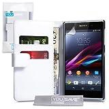Yousave Accessories -Cover Per Sony Xperia Z1 Custodia PU Pelle Portafoglio, Bianco